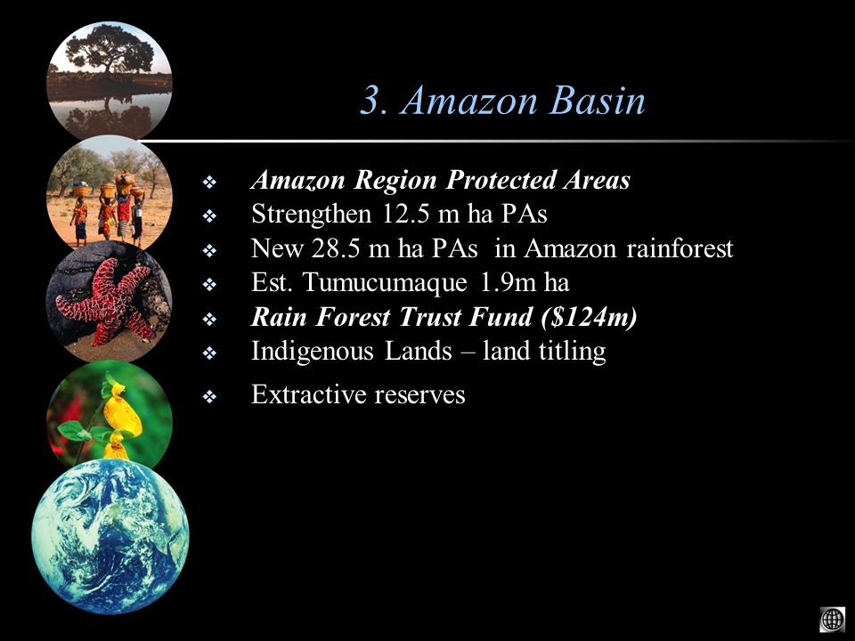  Amazon Region Protected Areas  Strengthen 12.5 m ha PAs  New 28.5 m ha PAs in Amazon rainforest  Est.