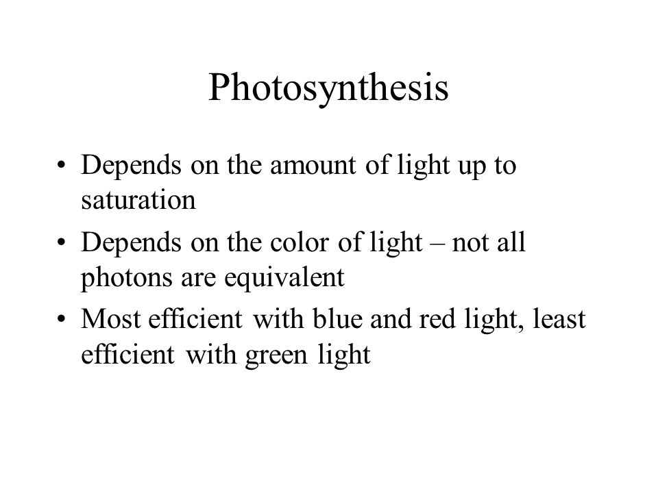 Photosynthesis Depends on the amount of light up to saturation Depends on the color of light – not all photons are equivalent Most efficient with blue and red light, least efficient with green light