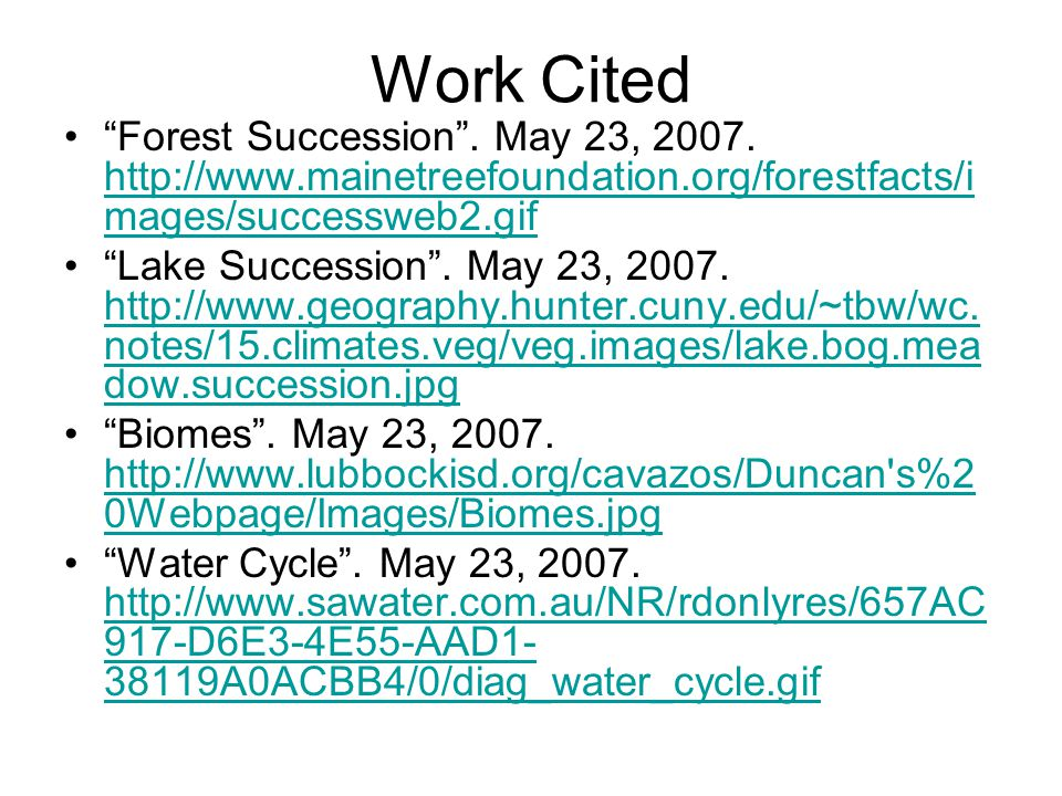 Work Cited Forest Succession . May 23, 2007.