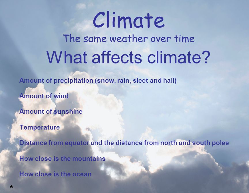 Climate The same weather over time What affects climate? Amount of precipitation (snow, rain, sleet and hail) Amount of wind Amount of sunshine Temper