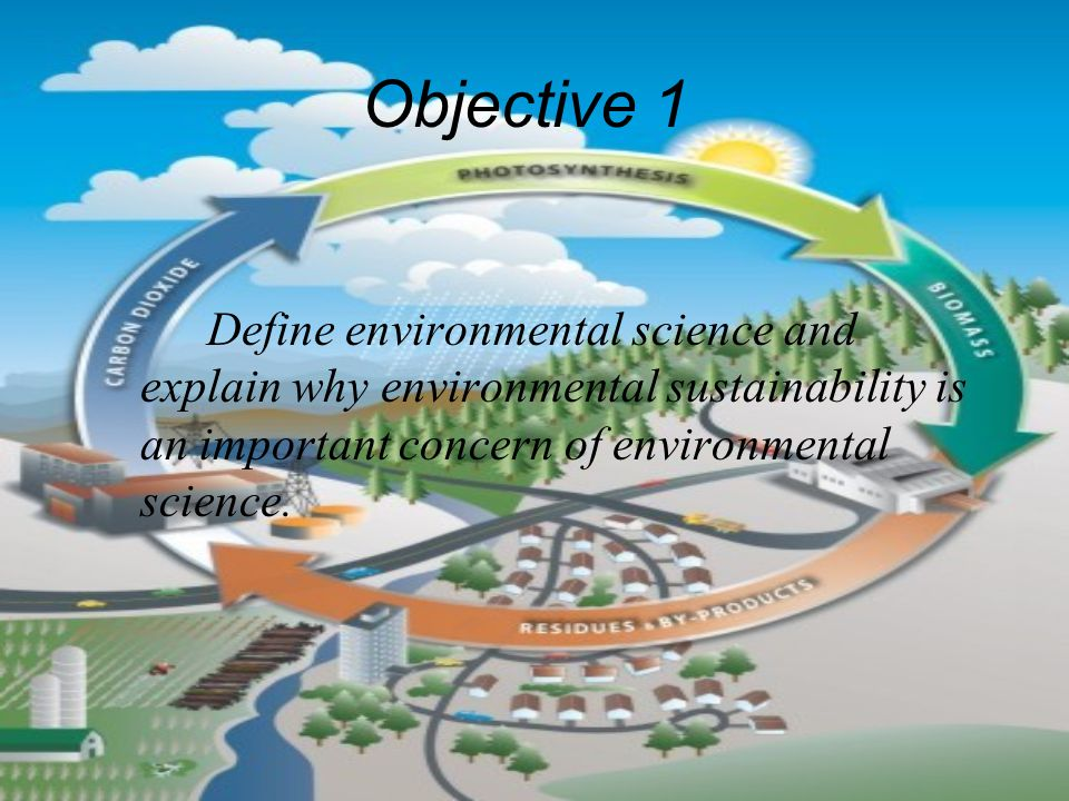 Objective 1 Define environmental science and explain why environmental sustainability is an important concern of environmental science.