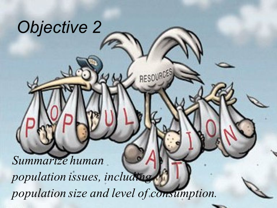 Objective 2 Summarize human population issues, including population size and level of consumption.