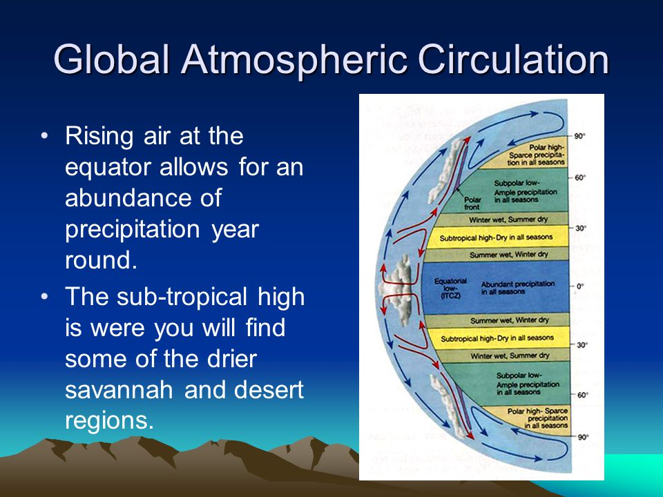 Global Atmospheric Circulation Rising air at the equator allows for an abundance of precipitation year round. The sub-tropical high is were you will f