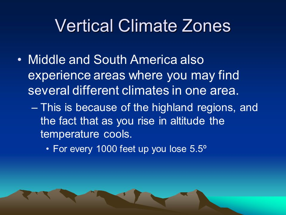 Altitudinal Zonation Middle & South America's Vertical Climate Zones