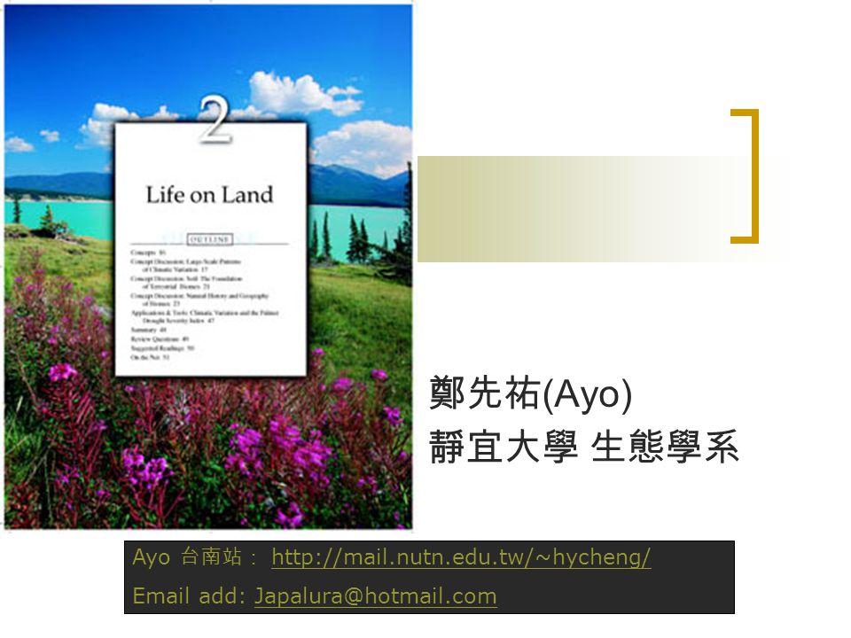 鄭先祐 (Ayo) 靜宜大學 生態學系 Ayo 台南站: http://mail.nutn.edu.tw/~hycheng/http://mail.nutn.edu.tw/~hycheng/ Email add: Japalura@hotmail.comJapalura@hotmail.com