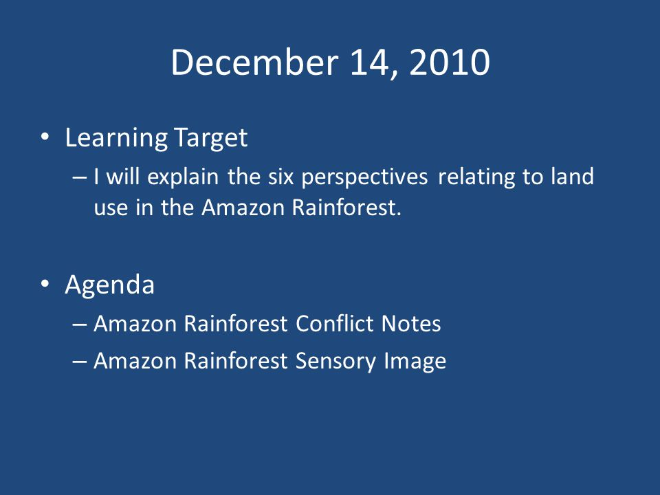 December 14, 2010 Learning Target – I will explain the six perspectives relating to land use in the Amazon Rainforest.
