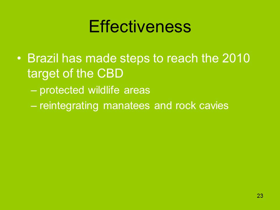 Effectiveness Brazil has made steps to reach the 2010 target of the CBD –protected wildlife areas –reintegrating manatees and rock cavies 23