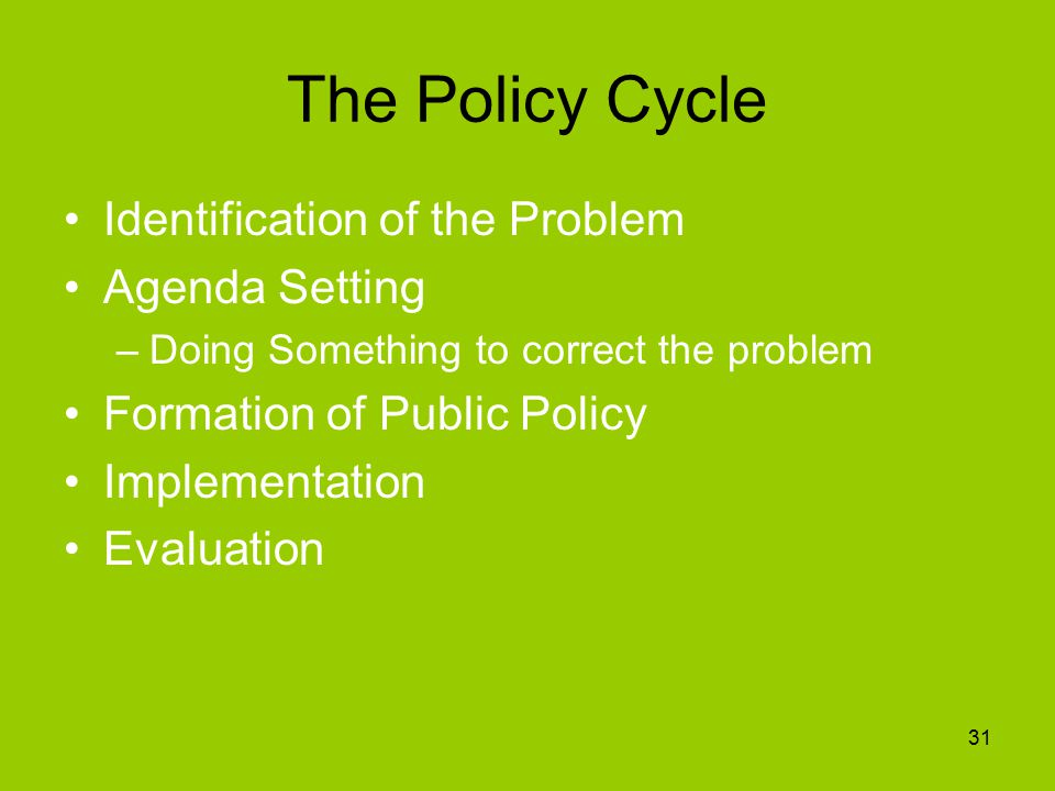 The Policy Cycle Identification of the Problem Agenda Setting –Doing Something to correct the problem Formation of Public Policy Implementation Evaluation 31