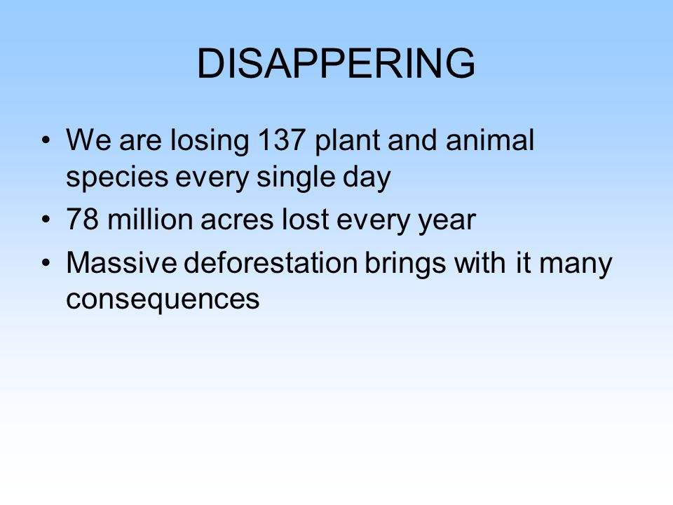 DISAPPERING We are losing 137 plant and animal species every single day 78 million acres lost every year Massive deforestation brings with it many consequences