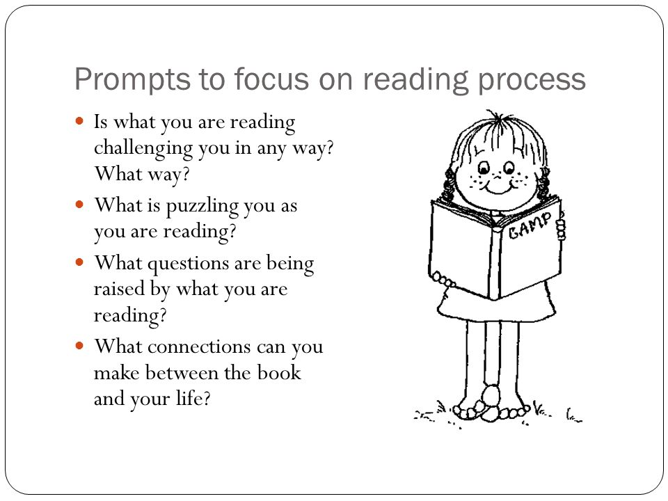 Prompts to focus on reading process Is what you are reading challenging you in any way.