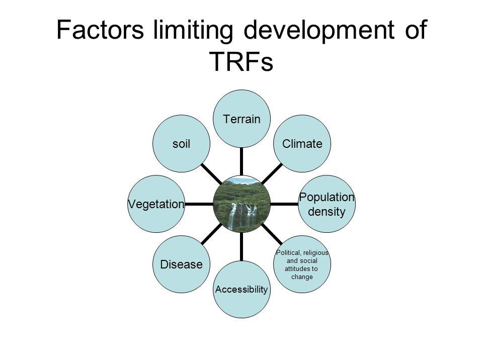 Factors limiting development of TRFs TerrainClimate Population density Political, religious and social attitudes to change AccessibilityDiseaseVegetationsoil