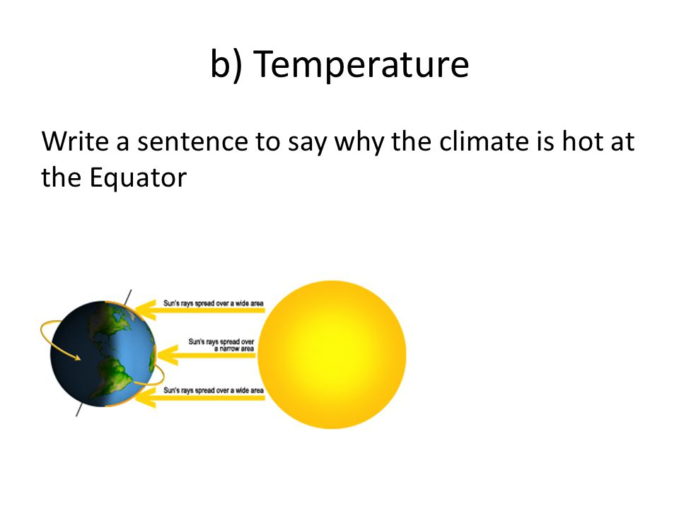 b) Temperature Write a sentence to say why the climate is hot at the Equator