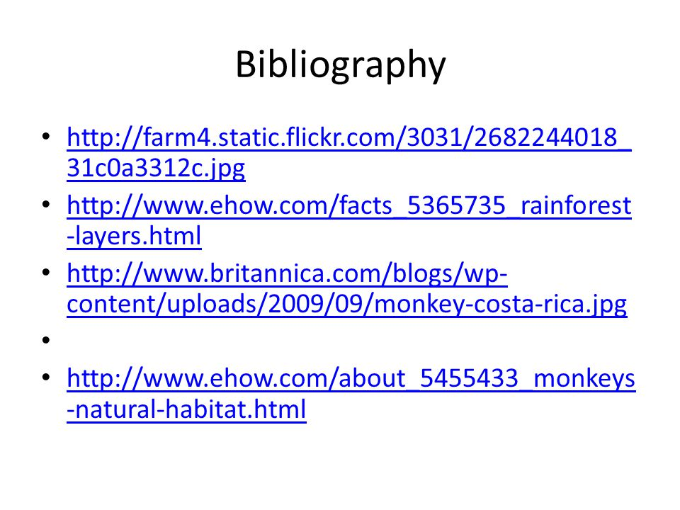 Bibliography http://farm4.static.flickr.com/3031/2682244018_ 31c0a3312c.jpg http://farm4.static.flickr.com/3031/2682244018_ 31c0a3312c.jpg http://www.ehow.com/facts_5365735_rainforest -layers.html http://www.ehow.com/facts_5365735_rainforest -layers.html http://www.britannica.com/blogs/wp- content/uploads/2009/09/monkey-costa-rica.jpg http://www.britannica.com/blogs/wp- content/uploads/2009/09/monkey-costa-rica.jpg http://www.ehow.com/about_5455433_monkeys -natural-habitat.html http://www.ehow.com/about_5455433_monkeys -natural-habitat.html