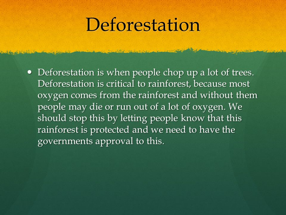 Deforestation Deforestation is when people chop up a lot of trees. Deforestation is critical to rainforest, because most oxygen comes from the rainfor