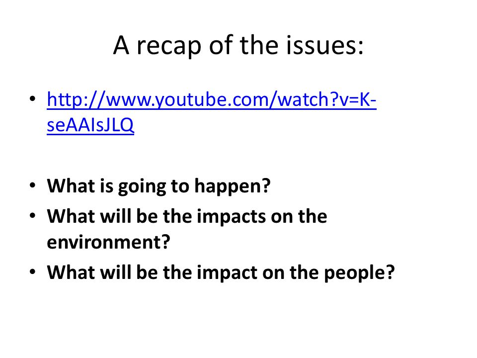 A recap of the issues: http://www.youtube.com/watch?v=K- seAAIsJLQ http://www.youtube.com/watch?v=K- seAAIsJLQ What is going to happen.