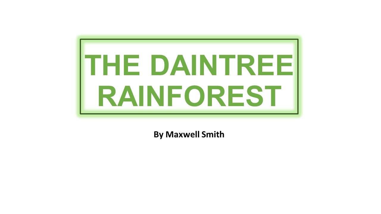 THE DAINTREE RAINFOREST By Maxwell Smith