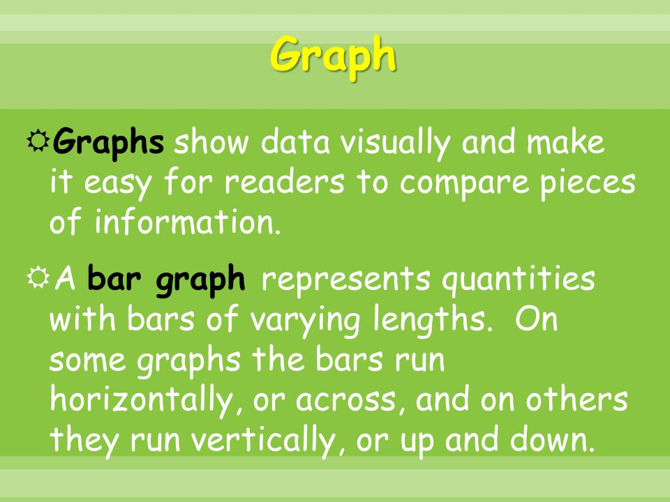 Graph  Graphs show data visually and make it easy for readers to compare pieces of information.  A bar graph represents quantities with bars of vary