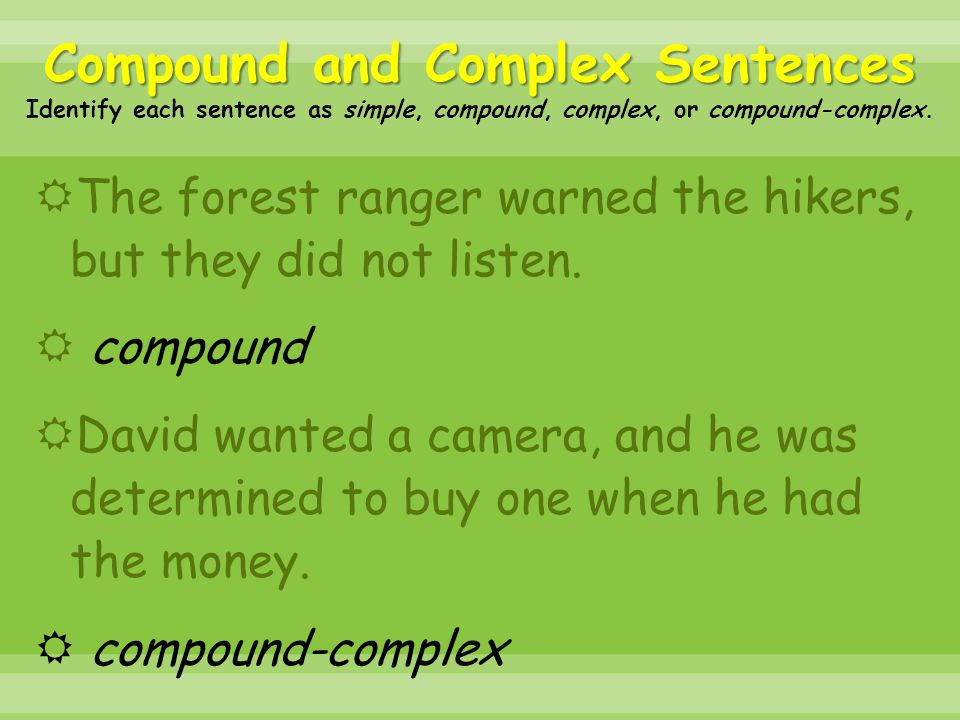  The forest ranger warned the hikers, but they did not listen.  compound  David wanted a camera, and he was determined to buy one when he had the m