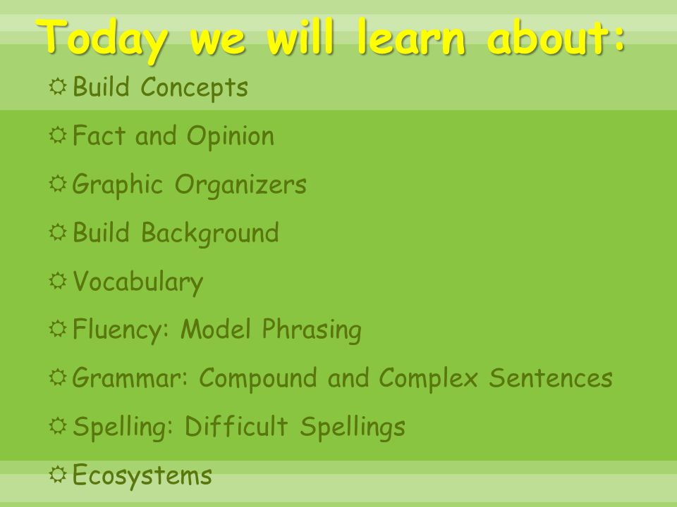 Today we will learn about:  Build Concepts  Fact and Opinion  Graphic Organizers  Build Background  Vocabulary  Fluency: Model Phrasing  Gramma