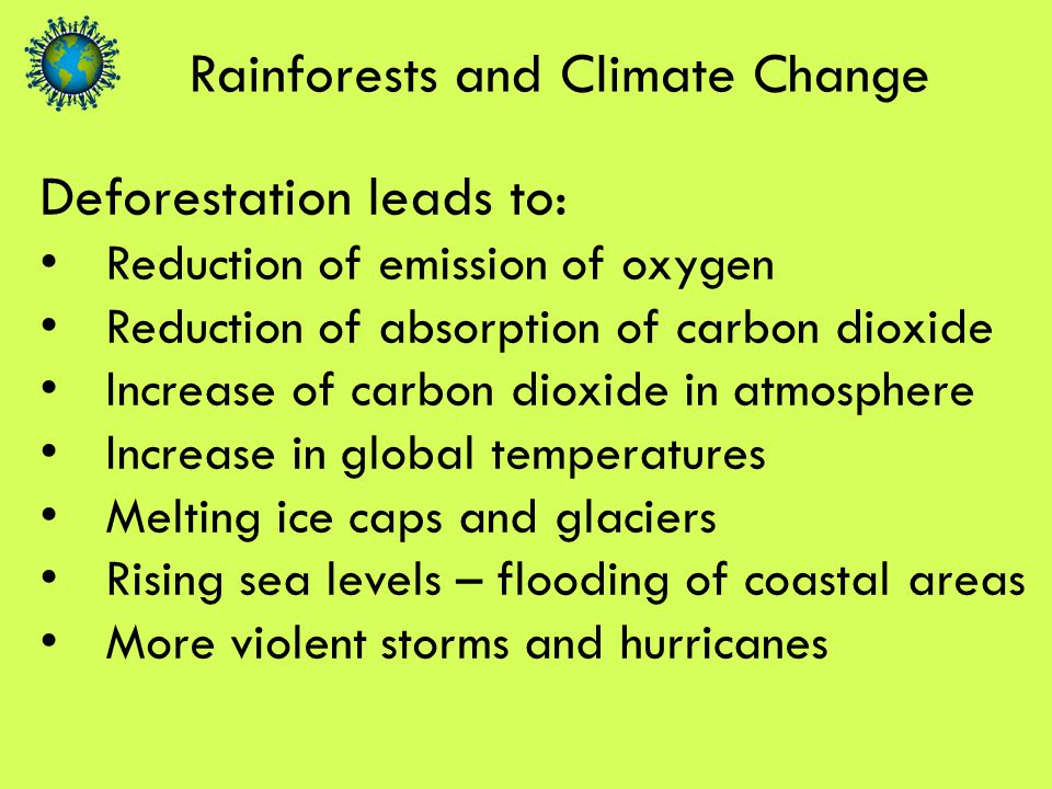Rainforests and Climate Change Deforestation leads to: Reduction of emission of oxygen Reduction of absorption of carbon dioxide Increase of carbon dioxide in atmosphere Increase in global temperatures Melting ice caps and glaciers Rising sea levels – flooding of coastal areas More violent storms and hurricanes