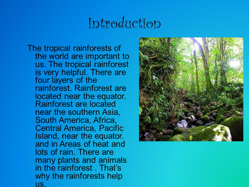 Introduction The tropical rainforests of the world are important to us. The tropical rainforest is very helpful. There are four layers of the rainfore