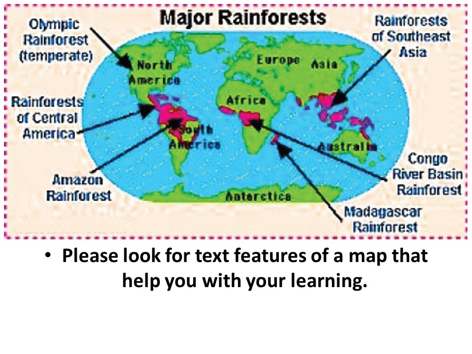 Please look for text features of a map that help you with your learning.