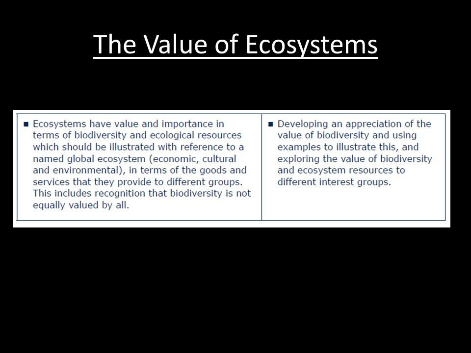 The Value of Ecosystems