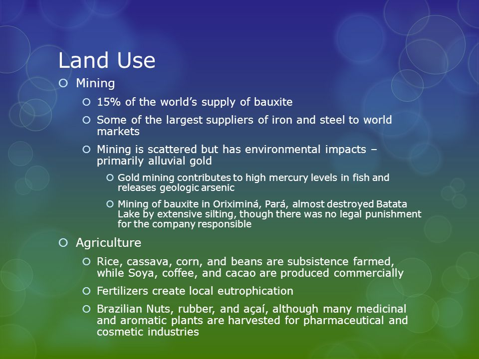 Land Use  Mining  15% of the world's supply of bauxite  Some of the largest suppliers of iron and steel to world markets  Mining is scattered but has environmental impacts – primarily alluvial gold  Gold mining contributes to high mercury levels in fish and releases geologic arsenic  Mining of bauxite in Oriximiná, Pará, almost destroyed Batata Lake by extensive silting, though there was no legal punishment for the company responsible  Agriculture  Rice, cassava, corn, and beans are subsistence farmed, while Soya, coffee, and cacao are produced commercially  Fertilizers create local eutrophication  Brazilian Nuts, rubber, and açaí, although many medicinal and aromatic plants are harvested for pharmaceutical and cosmetic industries