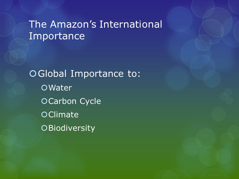 The Amazon's International Importance  Global Importance to:  Water  Carbon Cycle  Climate  Biodiversity