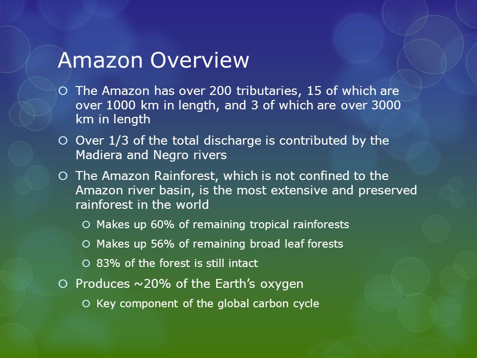 Amazon Overview  The Amazon has over 200 tributaries, 15 of which are over 1000 km in length, and 3 of which are over 3000 km in length  Over 1/3 of the total discharge is contributed by the Madiera and Negro rivers  The Amazon Rainforest, which is not confined to the Amazon river basin, is the most extensive and preserved rainforest in the world  Makes up 60% of remaining tropical rainforests  Makes up 56% of remaining broad leaf forests  83% of the forest is still intact  Produces ~20% of the Earth's oxygen  Key component of the global carbon cycle