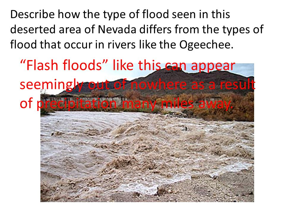 "Describe how the type of flood seen in this deserted area of Nevada differs from the types of flood that occur in rivers like the Ogeechee. ""Flash flo"