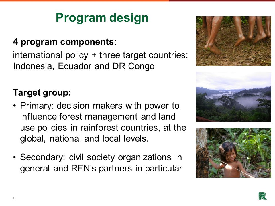 Program design 4 program components: international policy + three target countries: Indonesia, Ecuador and DR Congo Target group: Primary: decision makers with power to influence forest management and land use policies in rainforest countries, at the global, national and local levels.