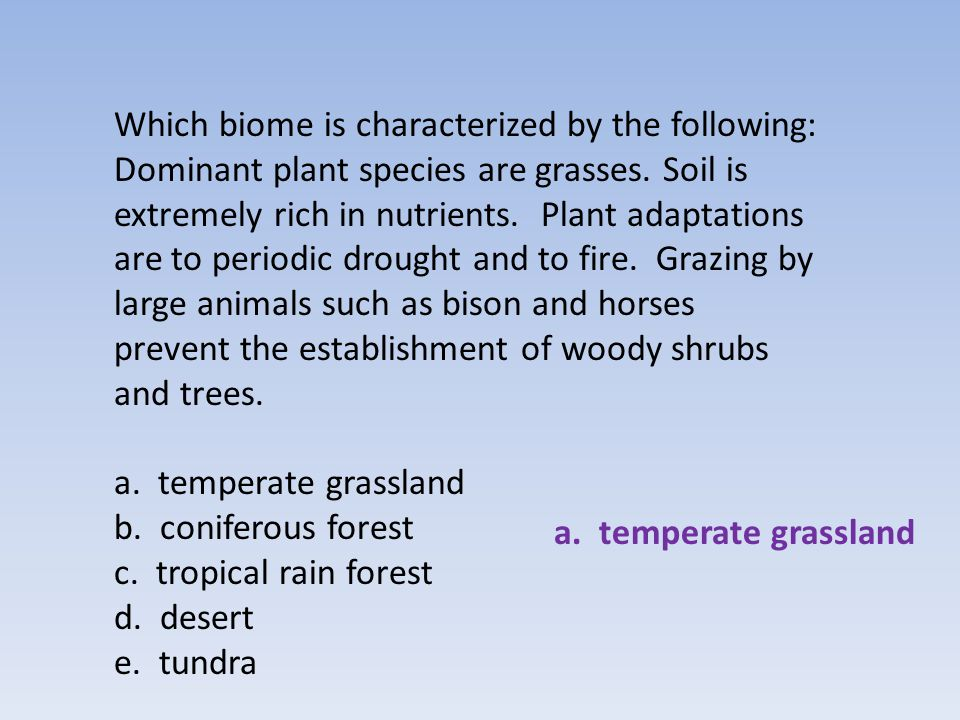 Which biome has moderate climate with four distinct seasons.