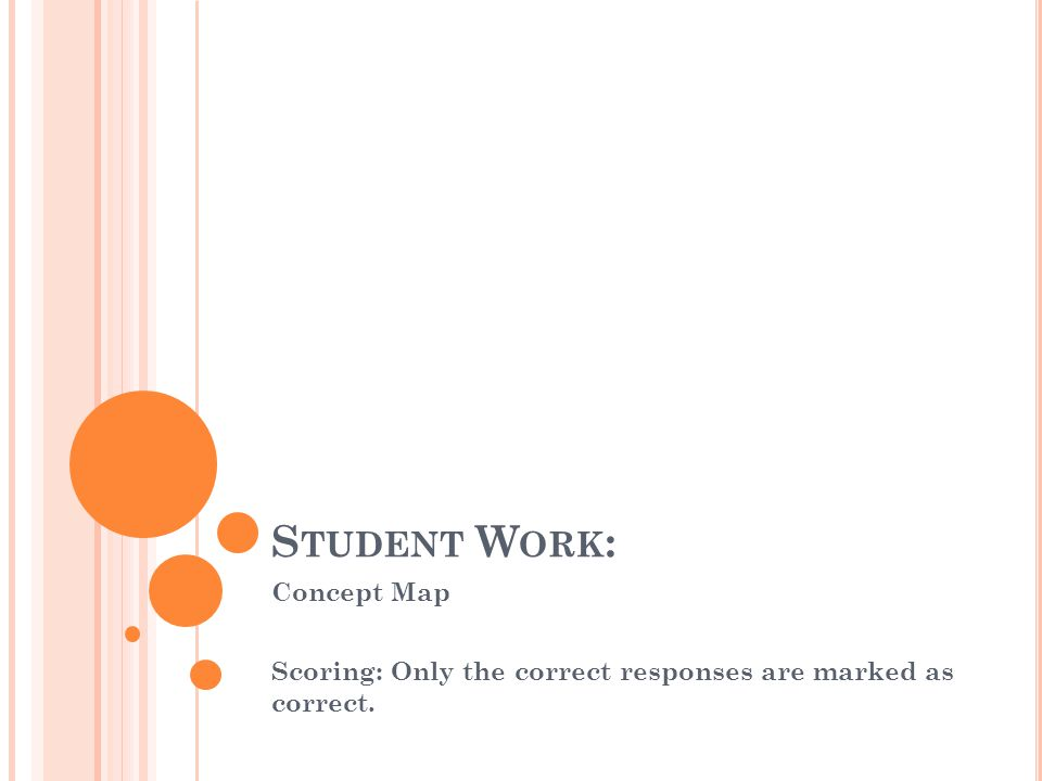 S TUDENT W ORK : Concept Map Scoring: Only the correct responses are marked as correct.