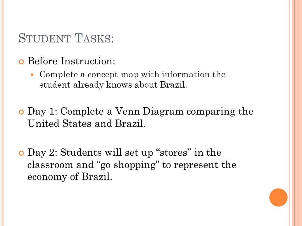 S TUDENT T ASKS : Before Instruction: Complete a concept map with information the student already knows about Brazil.