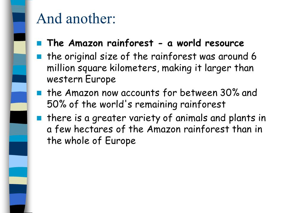 And another: The Amazon rainforest - a world resource the original size of the rainforest was around 6 million square kilometers, making it larger than western Europe the Amazon now accounts for between 30% and 50% of the world s remaining rainforest there is a greater variety of animals and plants in a few hectares of the Amazon rainforest than in the whole of Europe