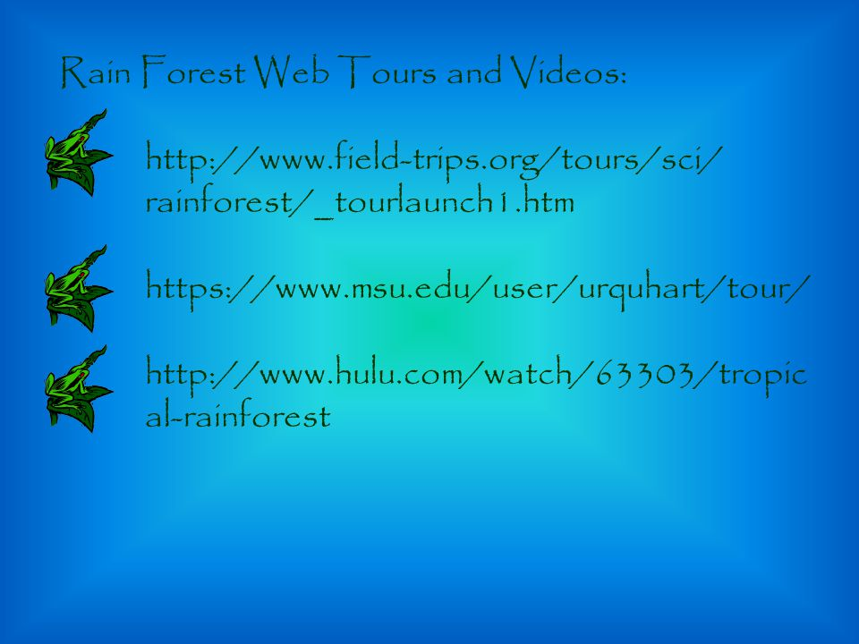 Rain Forest Web Tours and Videos: http://www.field-trips.org/tours/sci/ rainforest/_tourlaunch1.htm https://www.msu.edu/user/urquhart/tour/ http://www.hulu.com/watch/63303/tropic al-rainforest