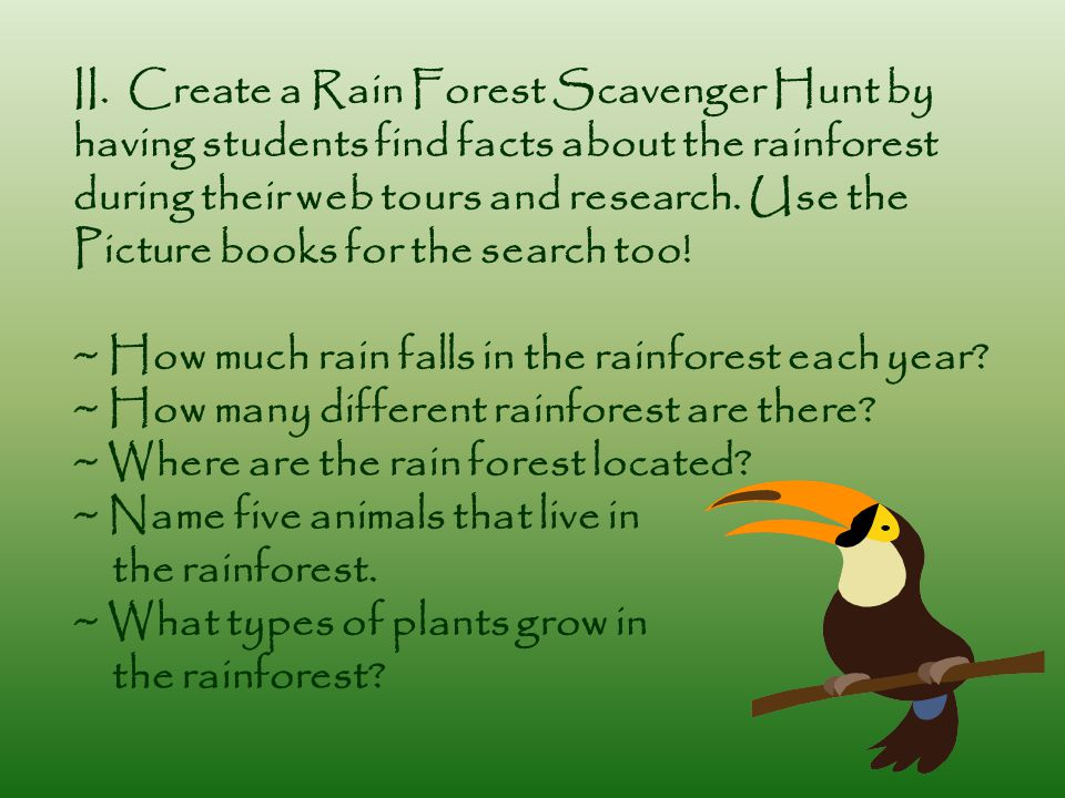 II. Create a Rain Forest Scavenger Hunt by having students find facts about the rainforest during their web tours and research. Use the Picture books