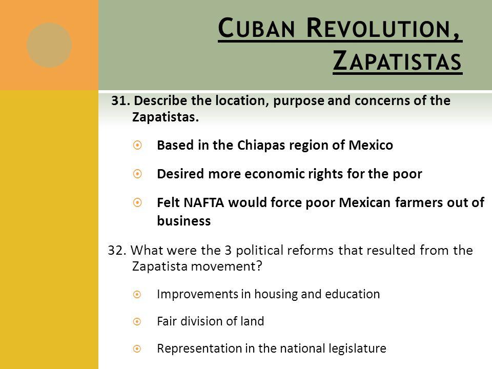 C UBAN R EVOLUTION, Z APATISTAS 31. Describe the location, purpose and concerns of the Zapatistas.  Based in the Chiapas region of Mexico  Desired m