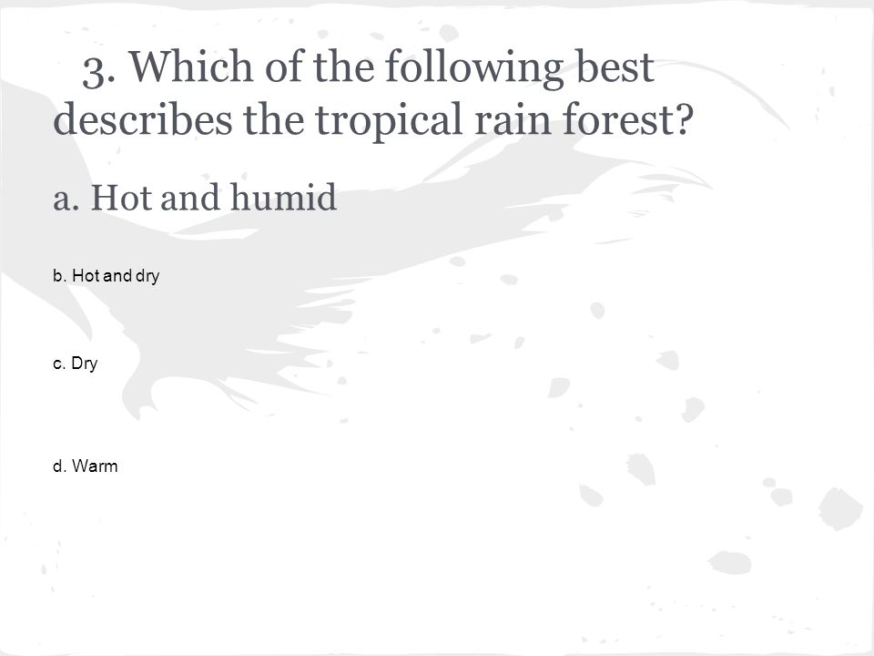 3.Which of the following best describes the tropical rain forest.