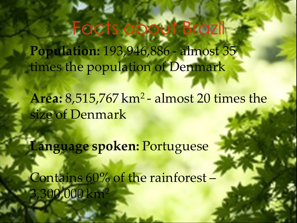 Facts about Brazil Population: 193,946,886 - almost 35 times the population of Denmark Area: 8,515,767 km 2 - almost 20 times the size of Denmark Language spoken: Portuguese Contains 60% of the rainforest – 3,300,000 km 2