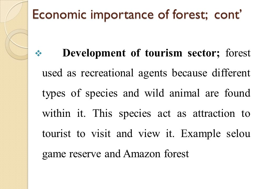 Economic importance of forest; cont'  Development of tourism sector; forest used as recreational agents because different types of species and wild a