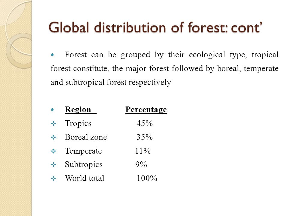 Global distribution of forest: cont' Forest can be grouped by their ecological type, tropical forest constitute, the major forest followed by boreal,