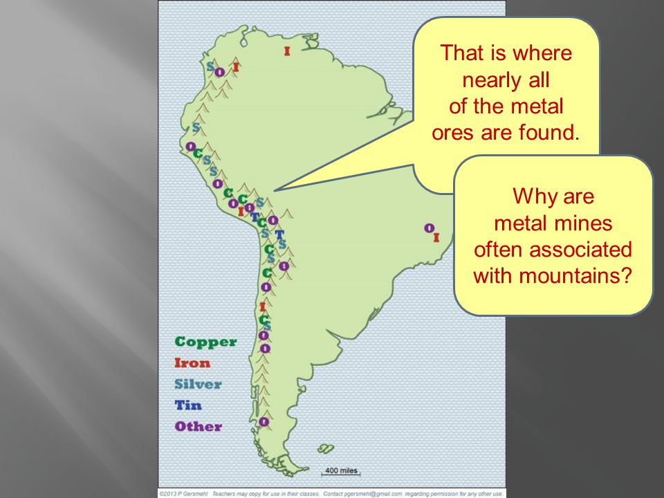 That is where nearly all of the metal ores are found....