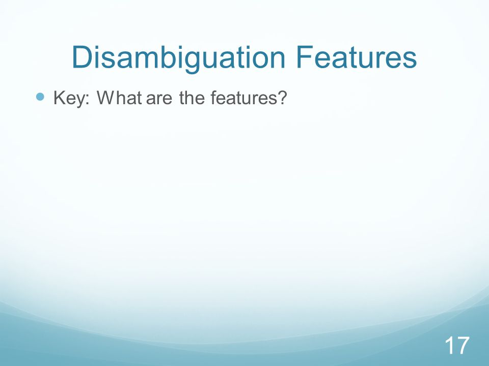 Disambiguation Features Key: What are the features? 17