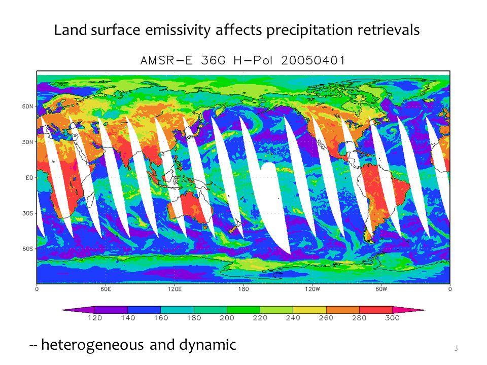 3 Land surface emissivity affects precipitation retrievals -- heterogeneous and dynamic