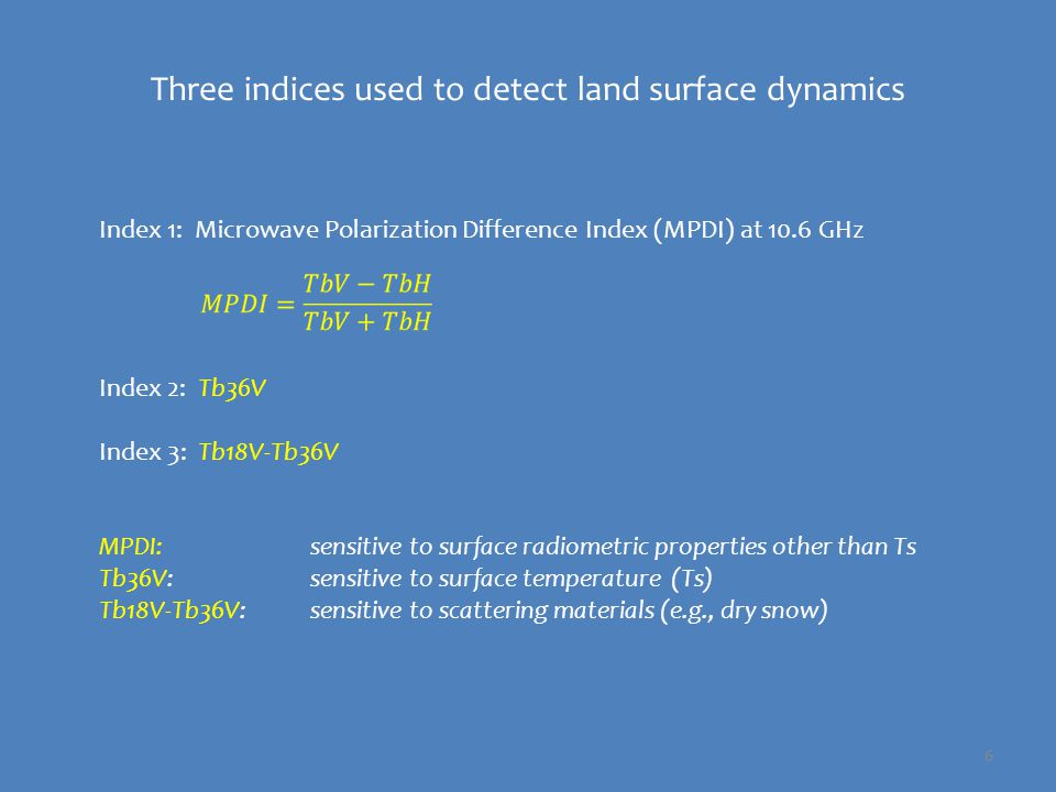 Microwave emission dynamics from a global perspective Land surfaces only 37