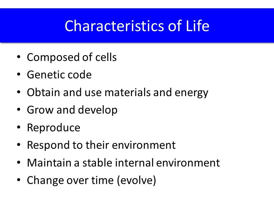 1a.Question: List the characteristics that define life.