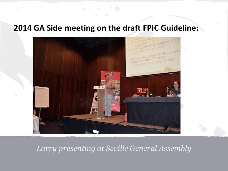 2014 GA Side meeting on the draft FPIC Guideline: Larry presenting at Seville General Assembly