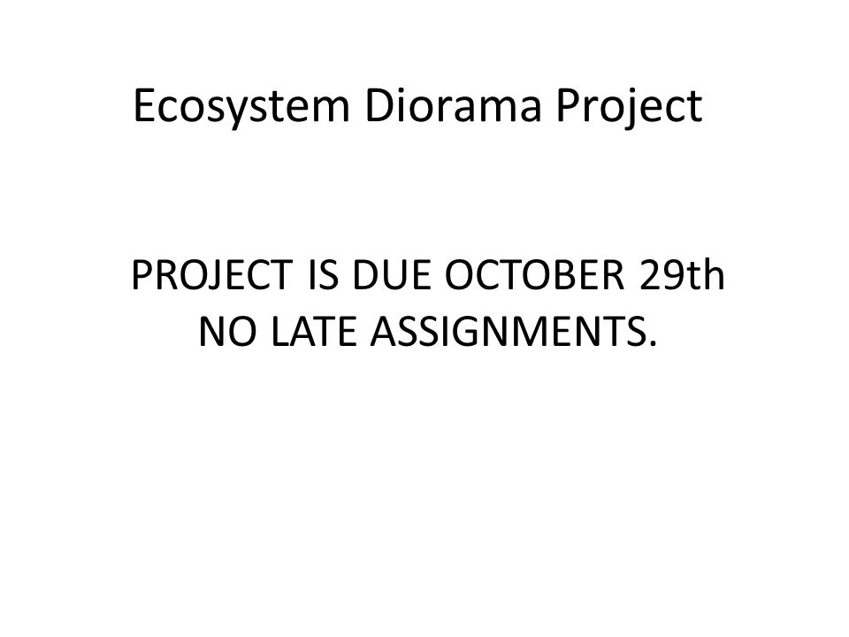 Ecosystem Diorama Project PROJECT IS DUE OCTOBER 29th NO LATE ASSIGNMENTS.